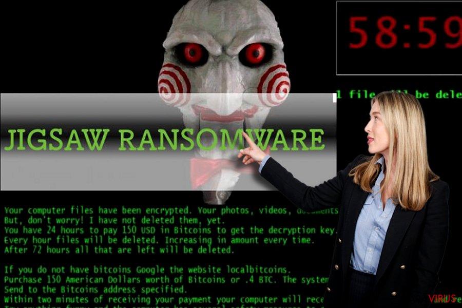 Virusul de tip ransomware Jigsaw captură de ecran