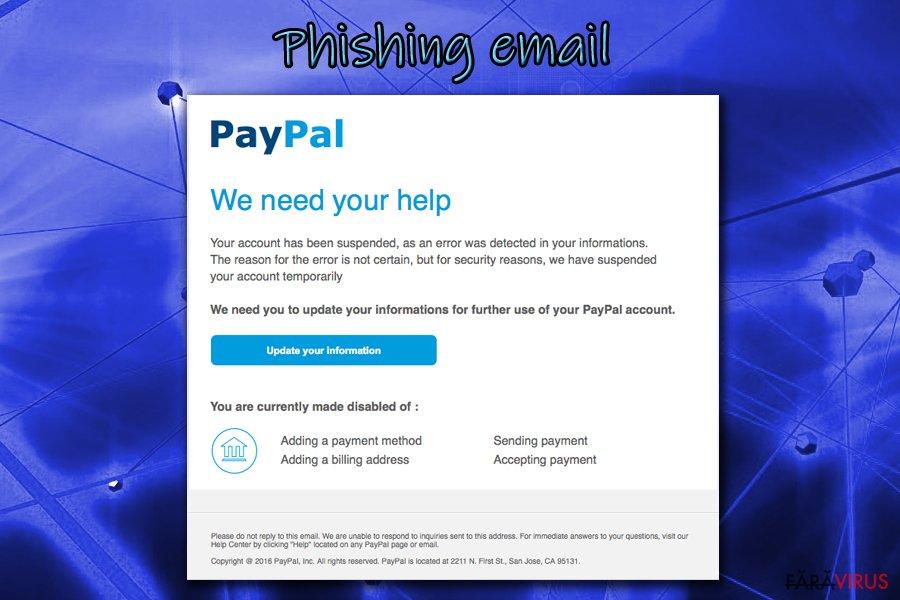 Exemplu de phishing de la Js Miner