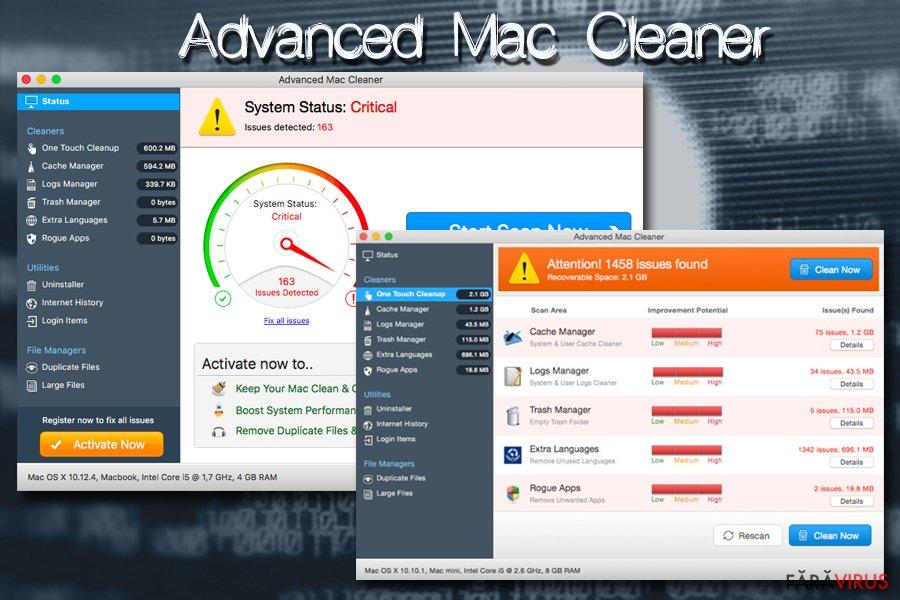 Virusul Mac Advanced Mac Cleaner