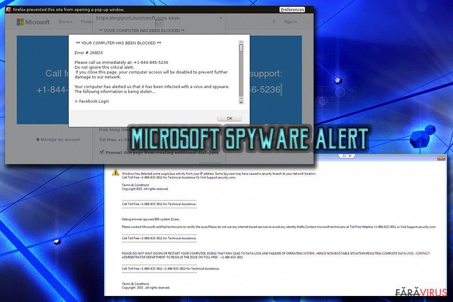 """Virusul """"Microsoft Warning Alert"""" Tech support scam captură de ecran"""