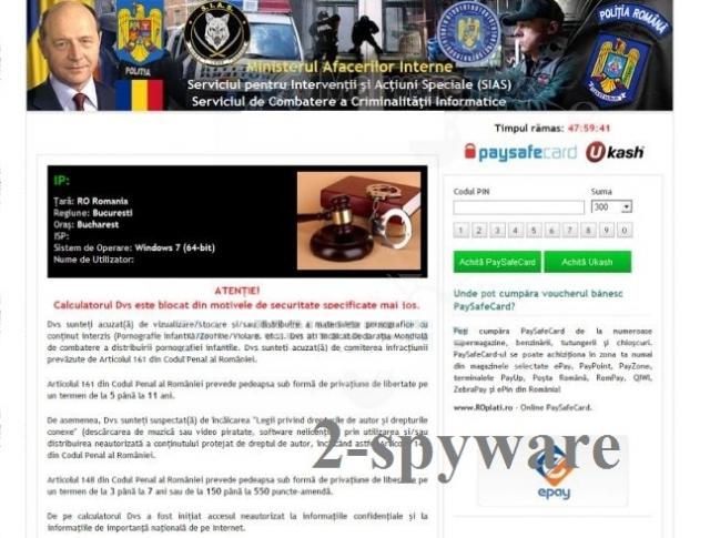 Virusul Ministerul Afacerilor de Interne captură de ecran