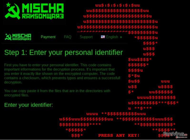 An illustration of the Mischa ransomware virus
