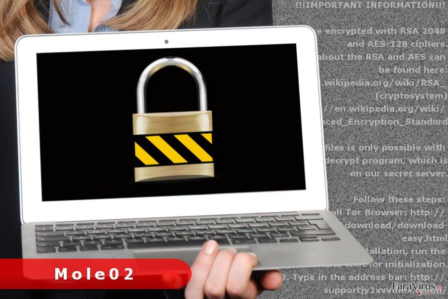 Imaginea virusului de tip ransomware Mole02