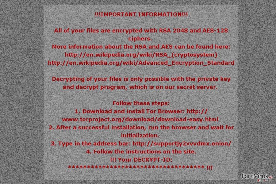 Nota de recompensă a virusului de tip ransomware Mole02