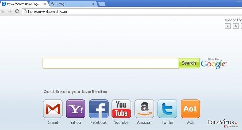 mywebsearch.com captură de ecran