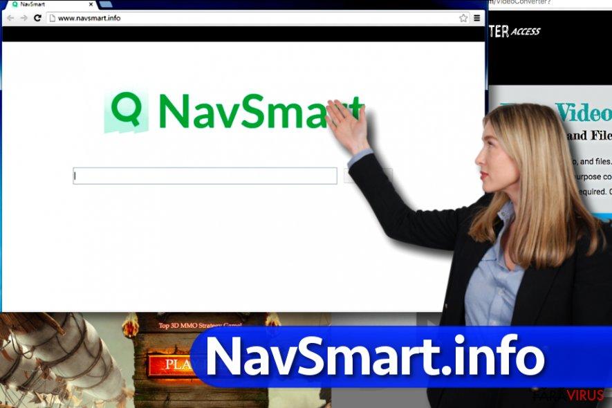 Virusul NavSmart.info captură de ecran