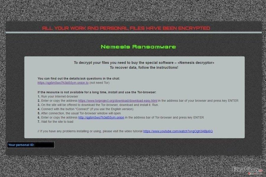 Nota de recompensă de la virusul Nemesis