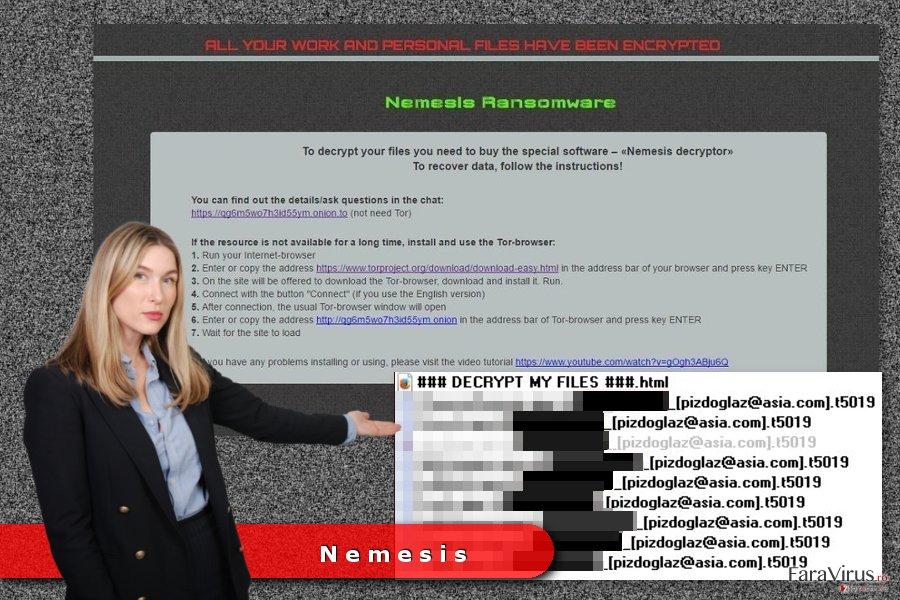 Exemplu al virusului de tip ransomware Nemesis