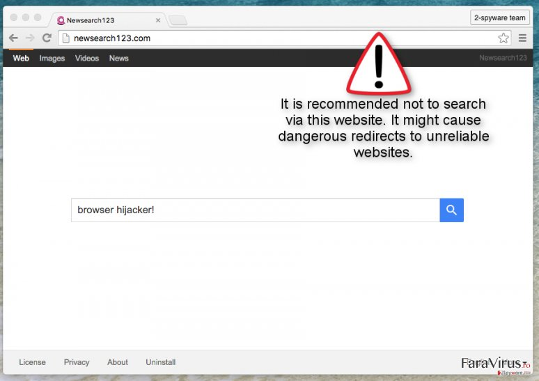 Newsearch123.com redirects can occur if you search via this suspicious website