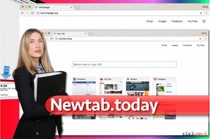 Imaginea virusului de redirecţionare Newtab.today