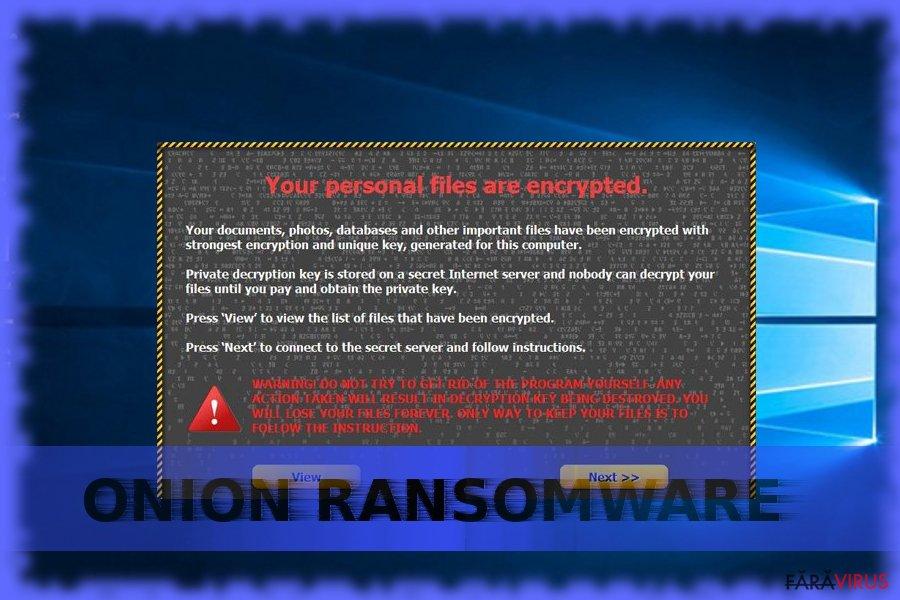 Ransomware-ul Onion captură de ecran