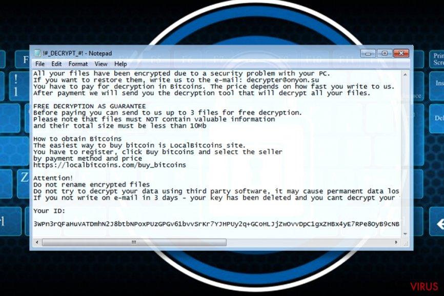 Nota de recompensă a ransomware-ului OnyonLock