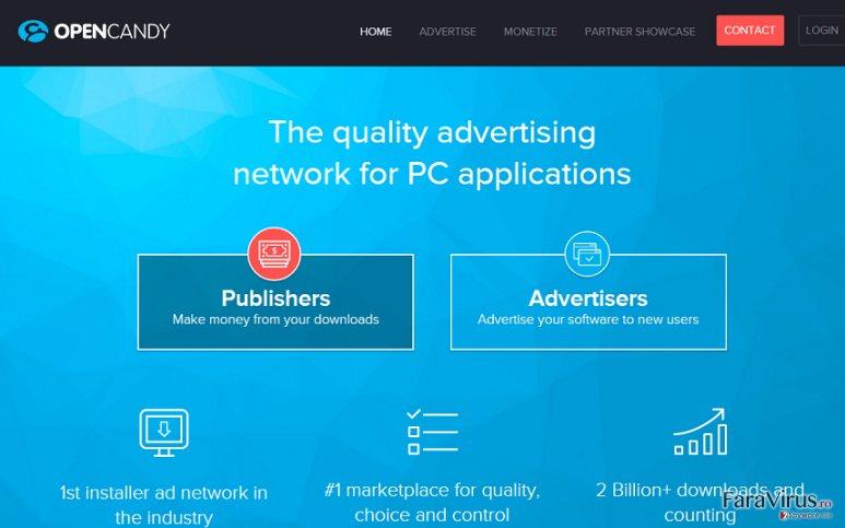 Reclamele OpenCandy captură de ecran