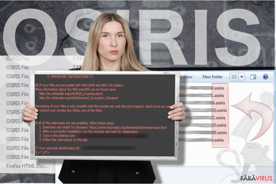 Virusul de tip ransomware Osiris captură de ecran