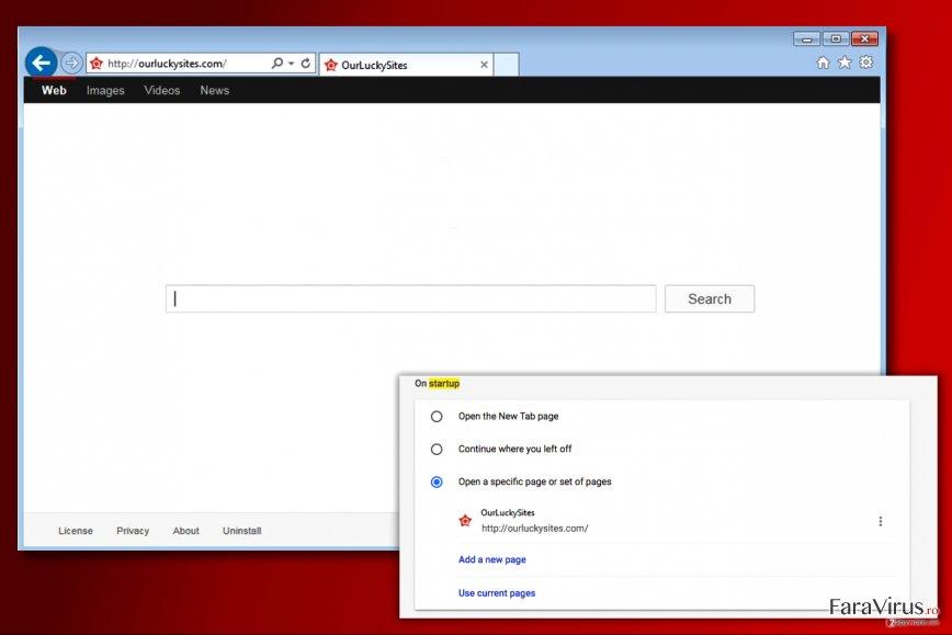 Virusul Ourluckysites.com captură de ecran