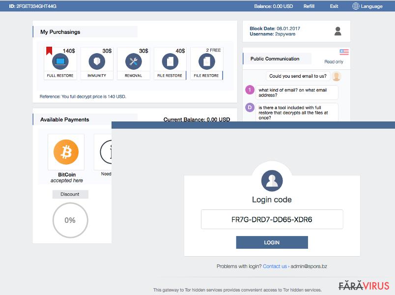Suport pentru utilizatori şi alte funcţii ale ransomware-ului Spora