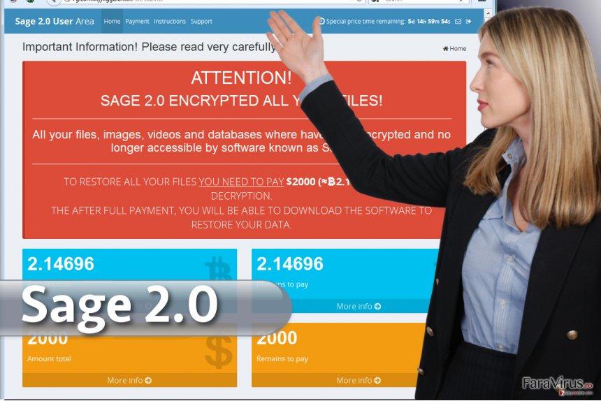 Virusul de tip ransomware Sage 2.0 captură de ecran
