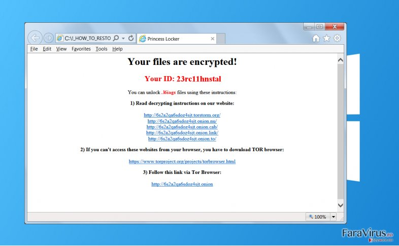 Virusul de tip ransomware Princess Locker captură de ecran