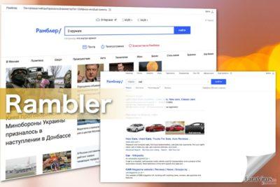 Capturi de ecran ale virusului Rambler Search