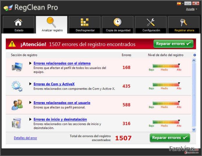 RegClean Pro captură de ecran