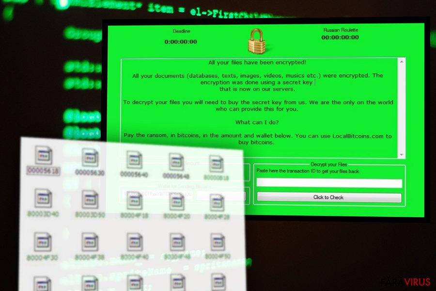 Imaginea virusului de tip ransomware RussianRoulette