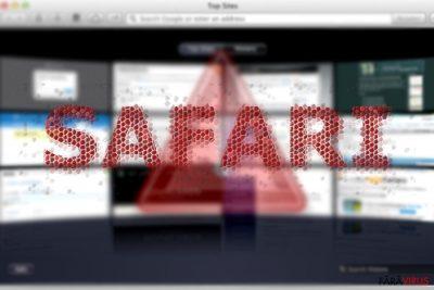 Imaginea care afişează infecţia de redirecţionare Safari