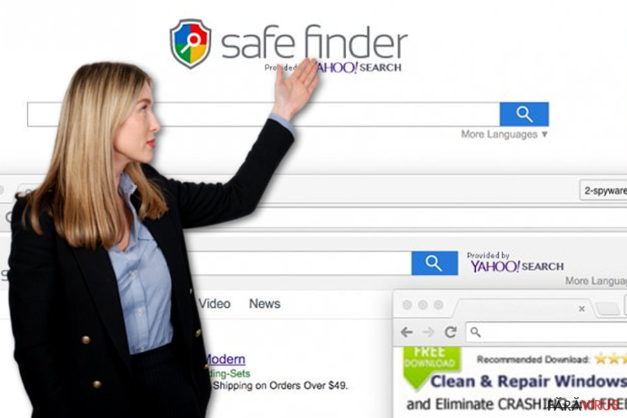 Virusul Safe Finder captură de ecran