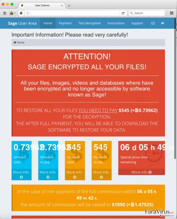 Virusul de tip ransomware Sage captură de ecran