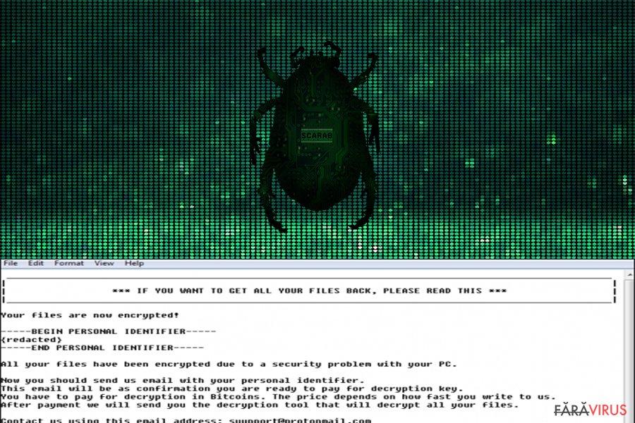 Virusul de tip ransomware Scarab captură de ecran