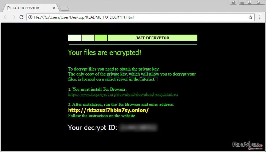Virusul de tip ransomware Jaff captură de ecran