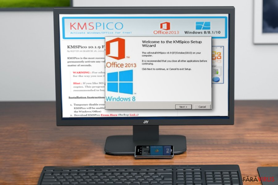Virusul KMSPico captură de ecran