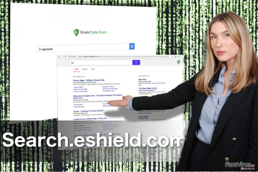 Redirecţionarea Search.eshield.com captură de ecran