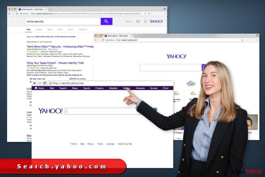 Redirecţionarea search.yahoo.com captură de ecran
