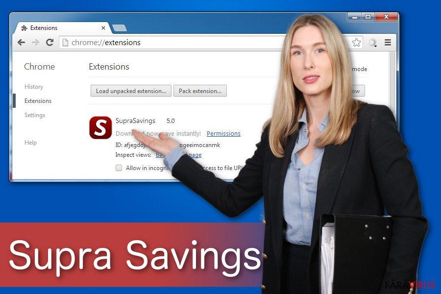 """Virusul """"Ads by Supra Savings"""""""