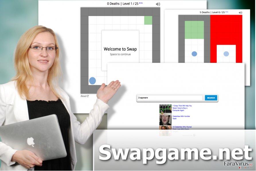 Ilustrarea virusului hijacker Swapgame.net