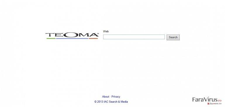 Teoma Web Search captură de ecran