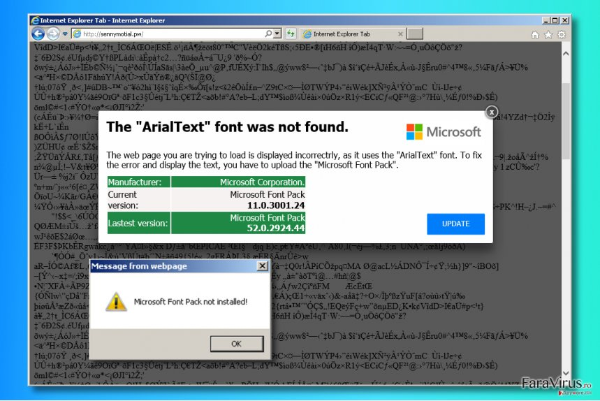 "Reclamele ""The ArialText font was not found"""