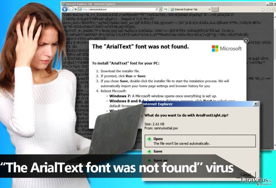 "Malware-ul ""The ArialText font was not found"""