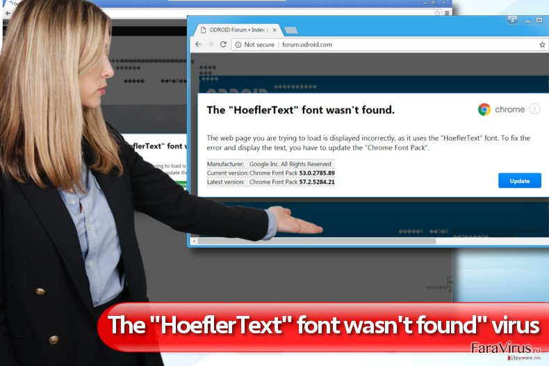"Reclamele ""The HoeflerText font wasn't found"" captură de ecran"