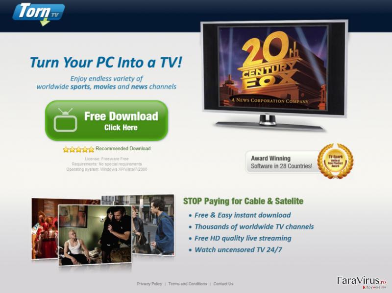 TornTV malware captură de ecran