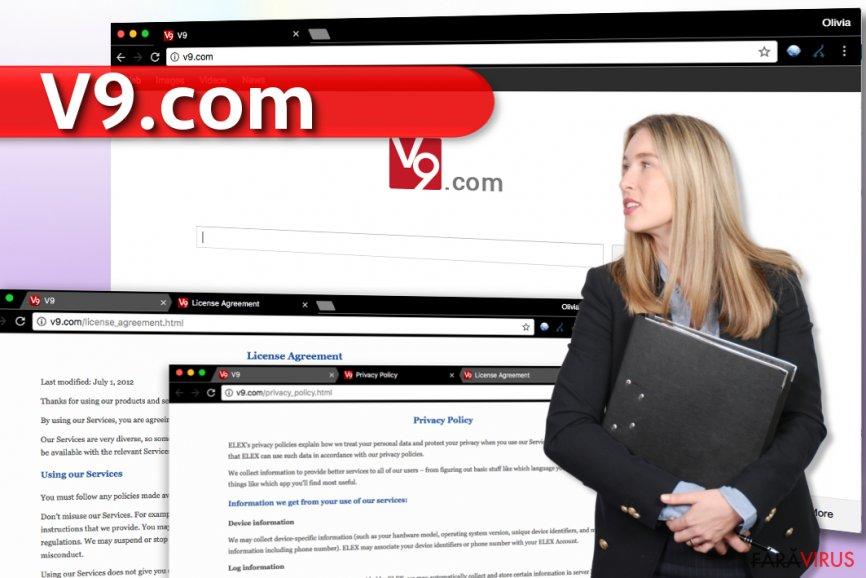 Virusul v9.com captură de ecran