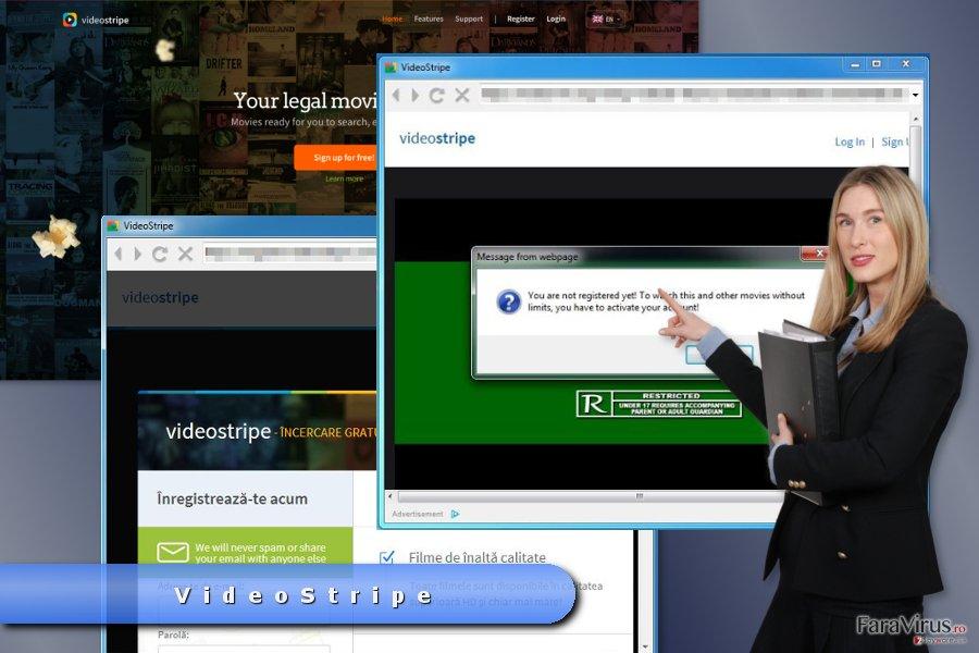 Exemplu de reclame de tip pop-up de la VideoStripe
