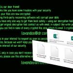 Virusul de tip ransomware Wallet captură de ecran