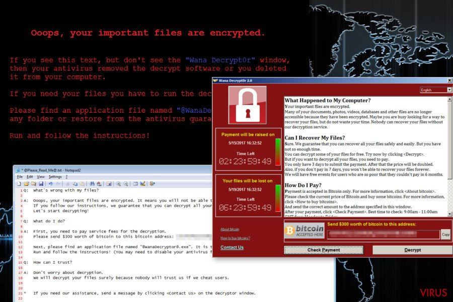 Virusul de tip ransomware Wana Decrypt0r captură de ecran