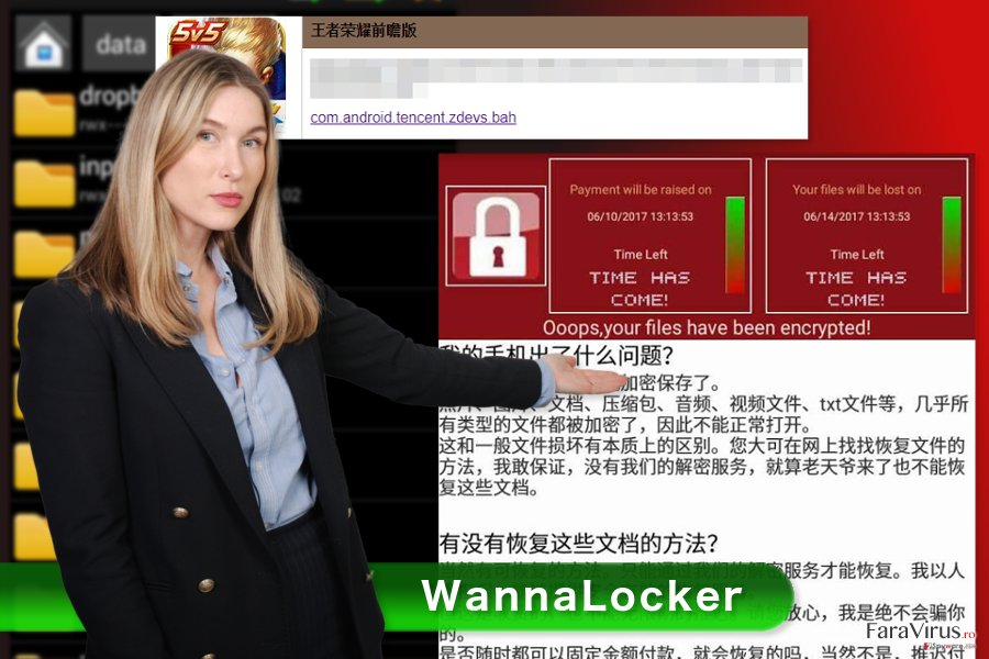 Imaginea virusului de tip ransomware WannaLocker