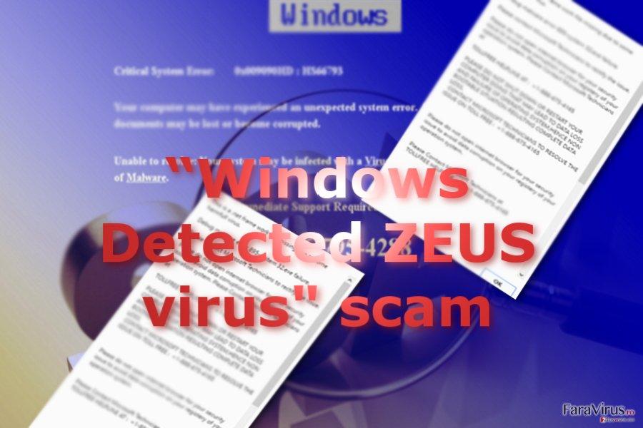 """Escrocheria de tip suport tehnic """"Windows Detected ZEUS Virus"""""""