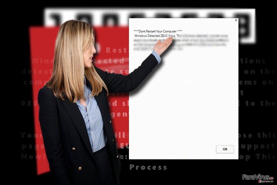 """Captură de ecran cu """"Windows Detected ZEUS Virus"""""""
