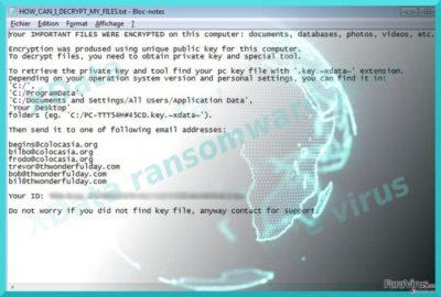 Imaginea care afişează virusul XData