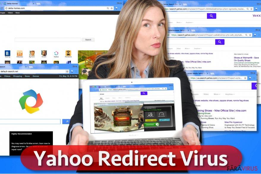 Virusul de redirecţionare Yahoo captură de ecran