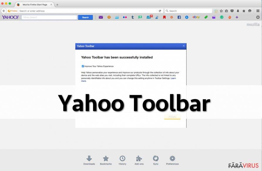 Bara de unelte Yahoo captură de ecran